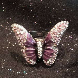 Ring Purple butterfly adjustable Nwot